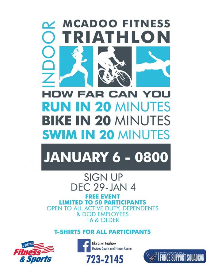 Last day to register for the Indoor Sprint Triathlon 20-20-20 at the Fitness Center
