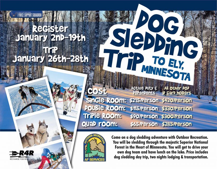 Last Day to register for the Dog Sledding Trip to Minnesota at Outdoor Rec