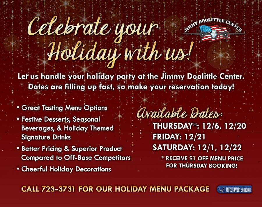 Let the JDC host your event! From Weddings to Birthday Parties, we can handle the details! For more info, contact Julie Palmier at 723-3731!