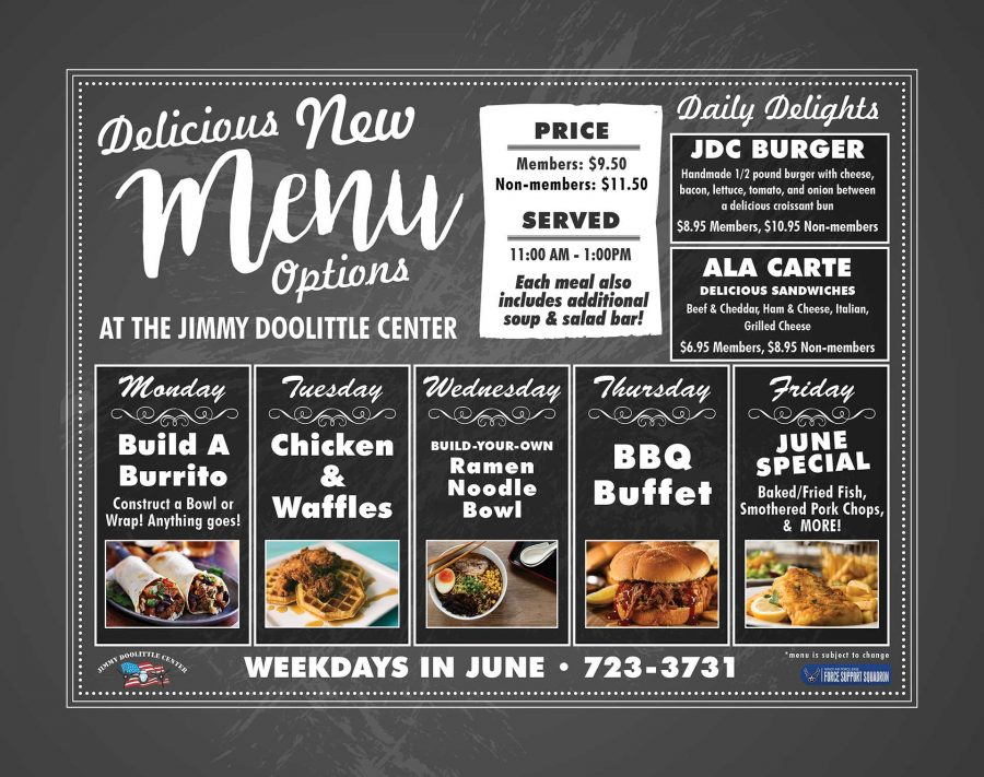 NEW JUNE SPECIAL Baked/Fried Fish & Smothered Pork Chops All Ranks Lunch Buffet