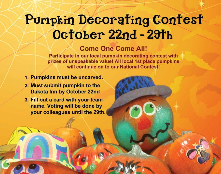 Voting ENDS for the Dakota Inn Pumpkin Decorating Contest