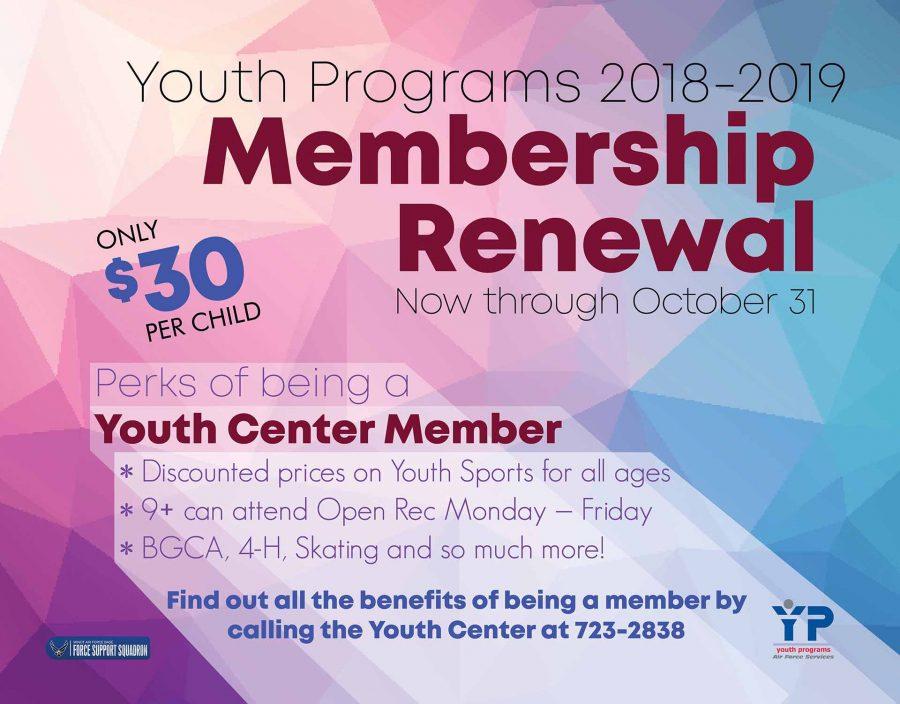 LAST DAY for Youth Programs Membership Renewal 2018-2019