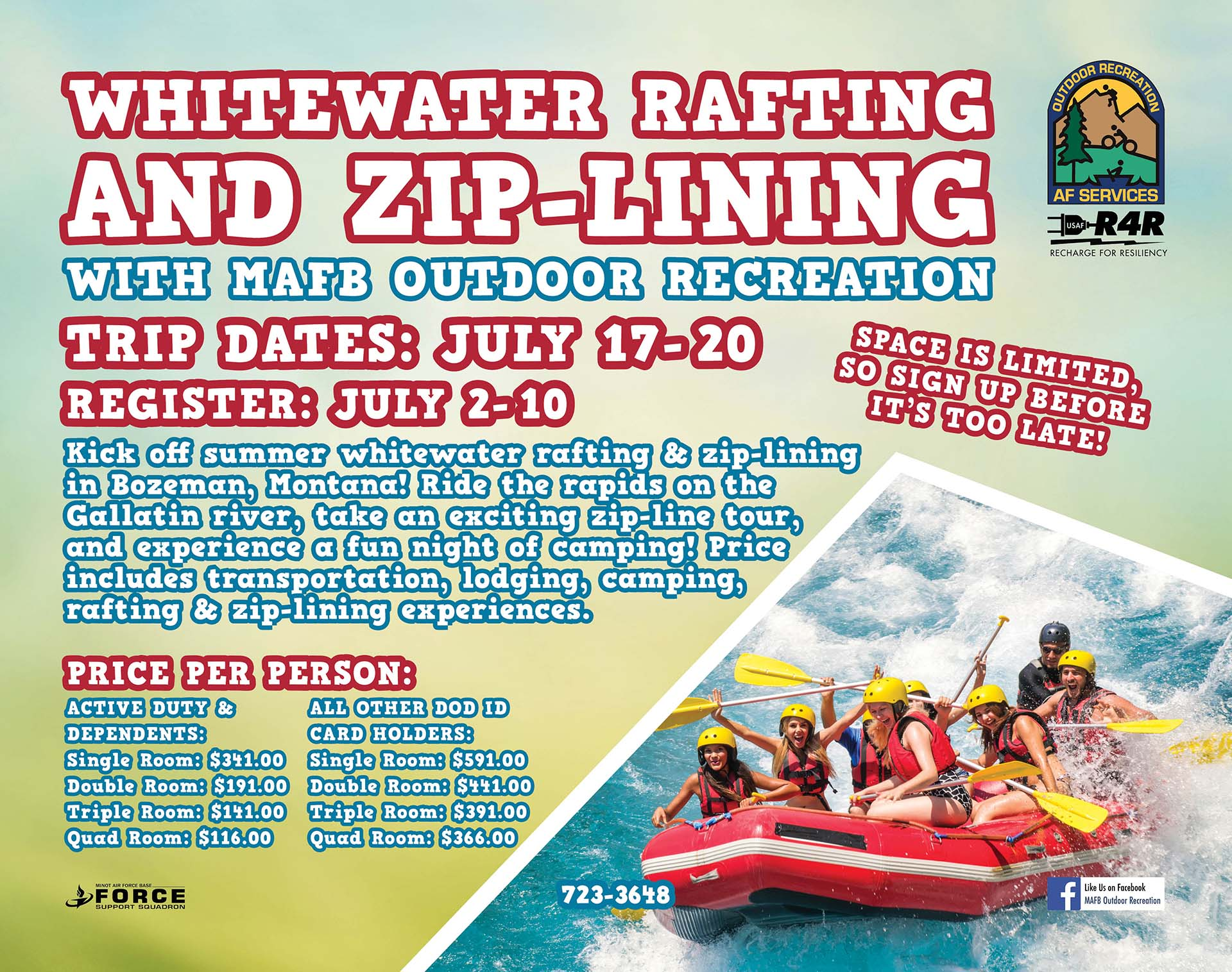 REGISTRATION CLOSES for Whitewater Rafting & Zip-Lining Trip to Bozeman, MT