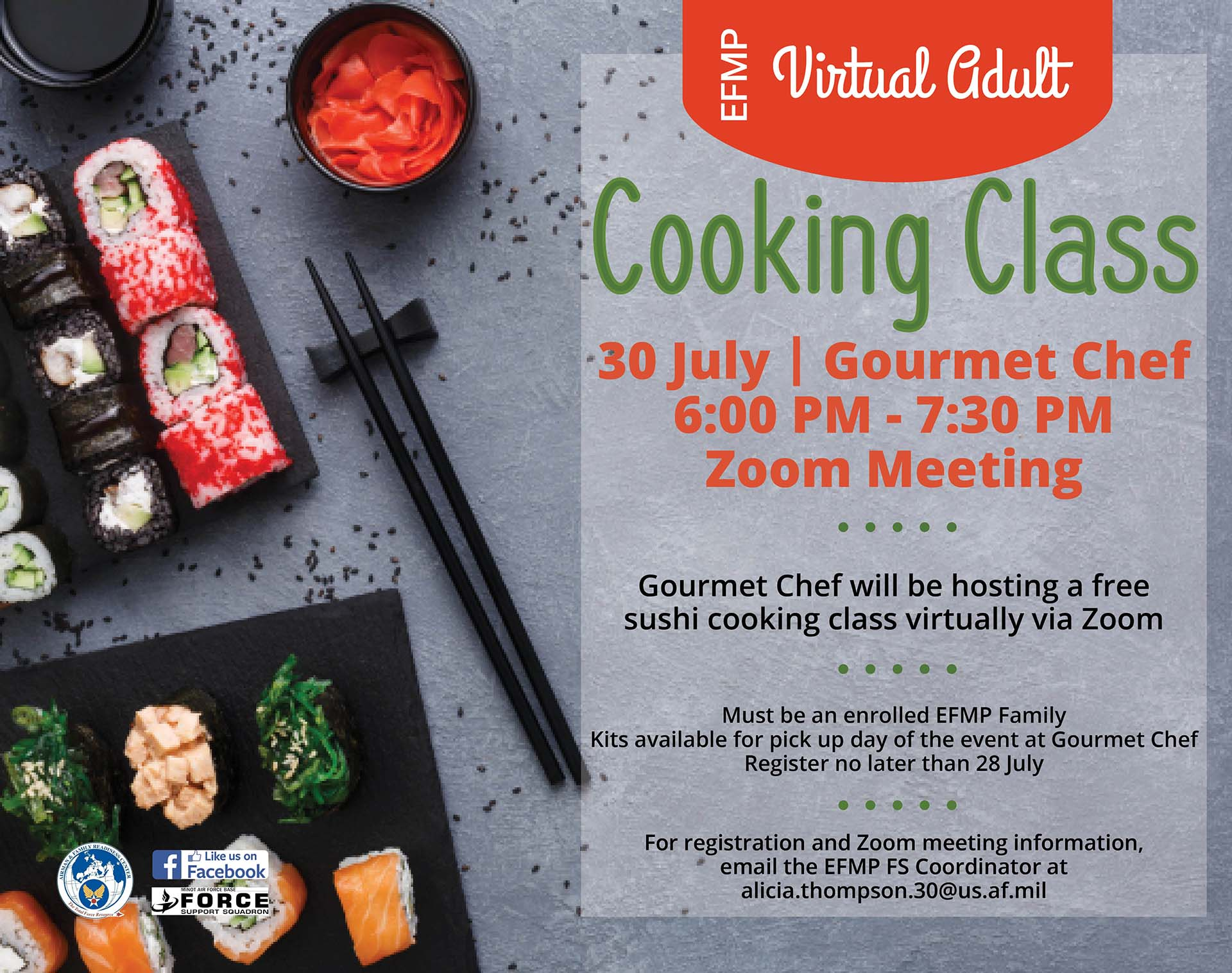 EFMP Virtual Adult Cooking Class - Sushi - ONLINE