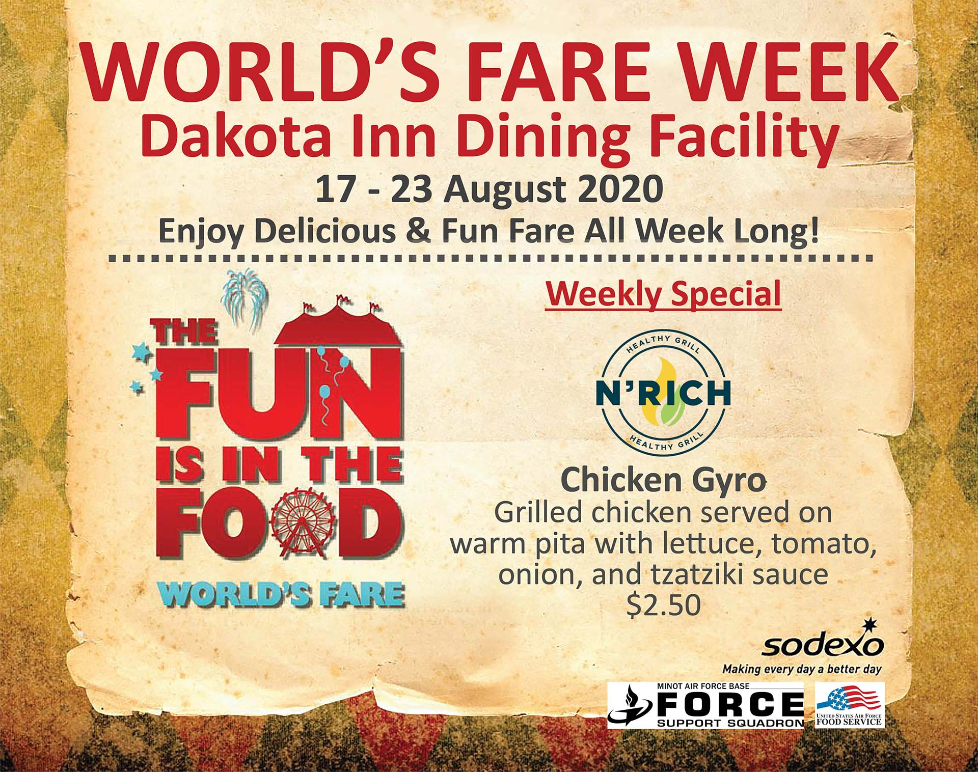 08.17-23 Worlds Fare - Weekly Special Chicken Gyro