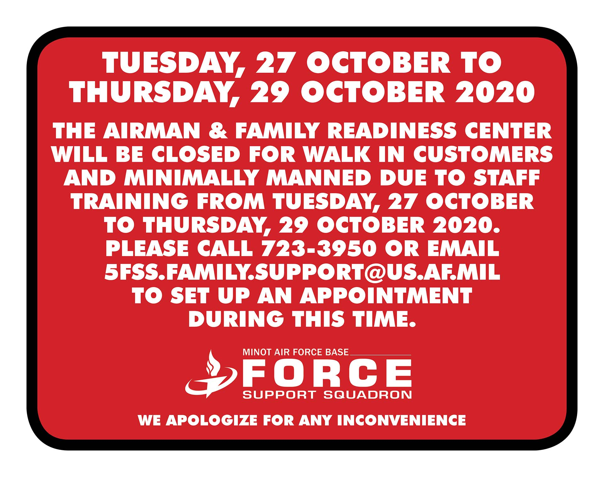 A&FRC Closed For Walk Ins - Call For Appointments