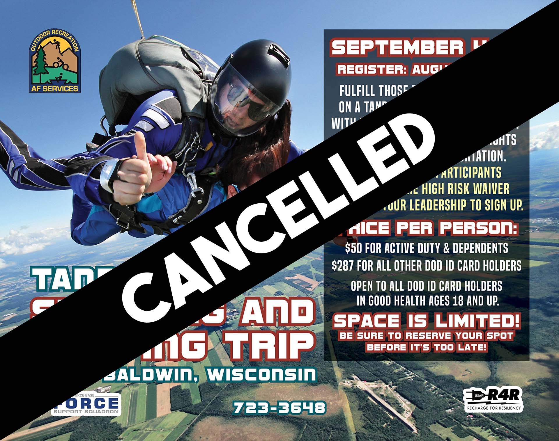 Canceled: Skydiving & Camping Trip to Baldwin, WI