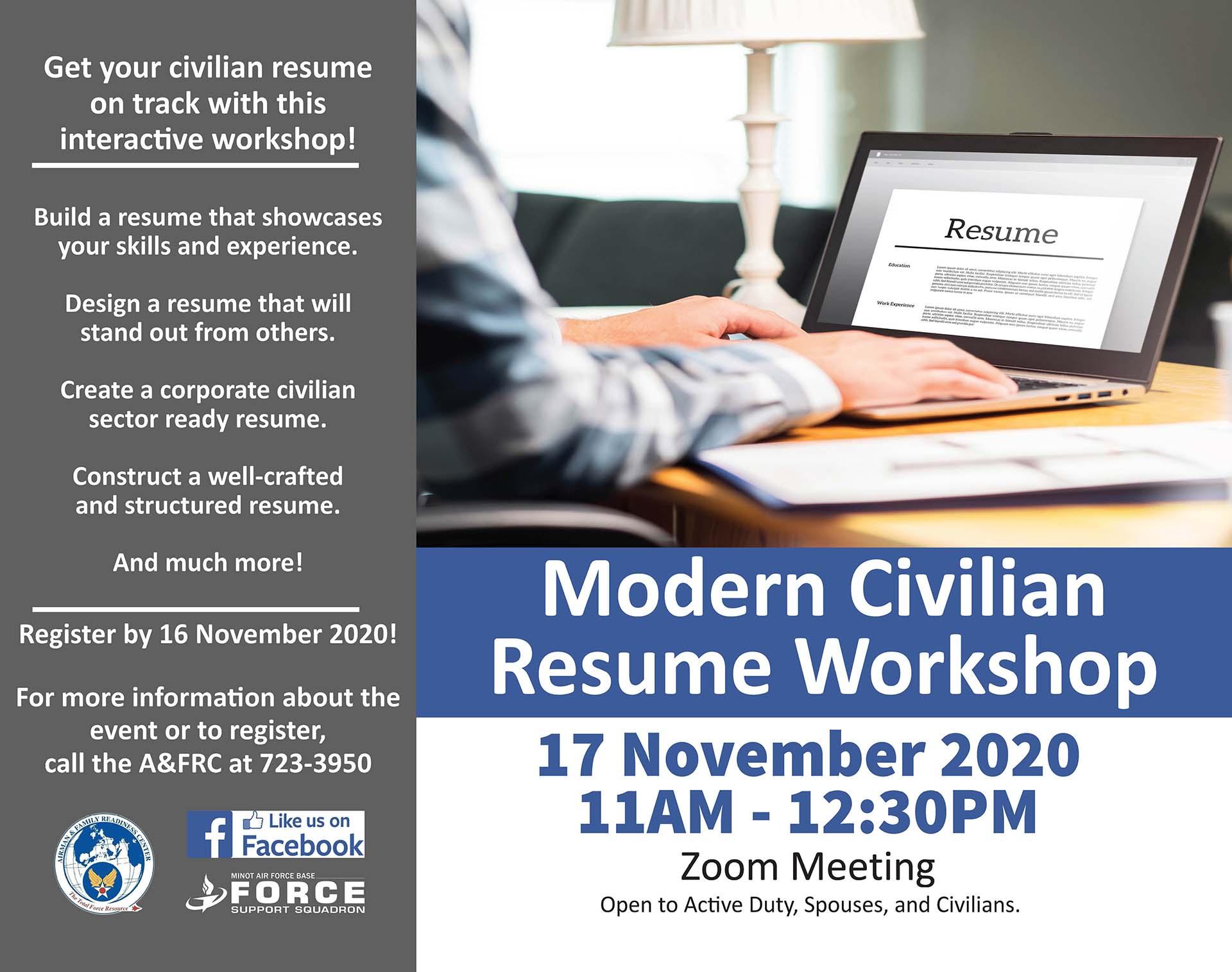 Modern Civilian Resume Workshop - ONLINE