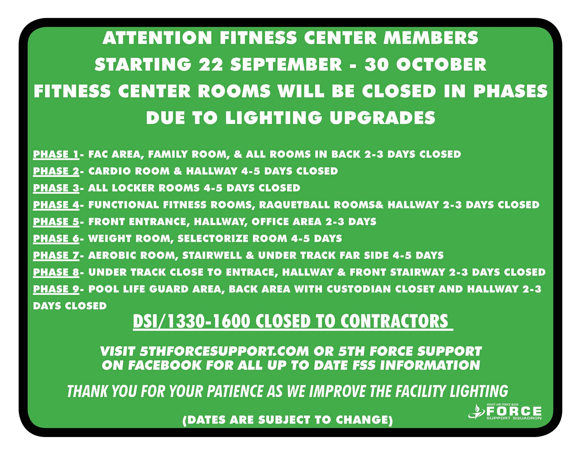 10.30 Fitness Phases Closures