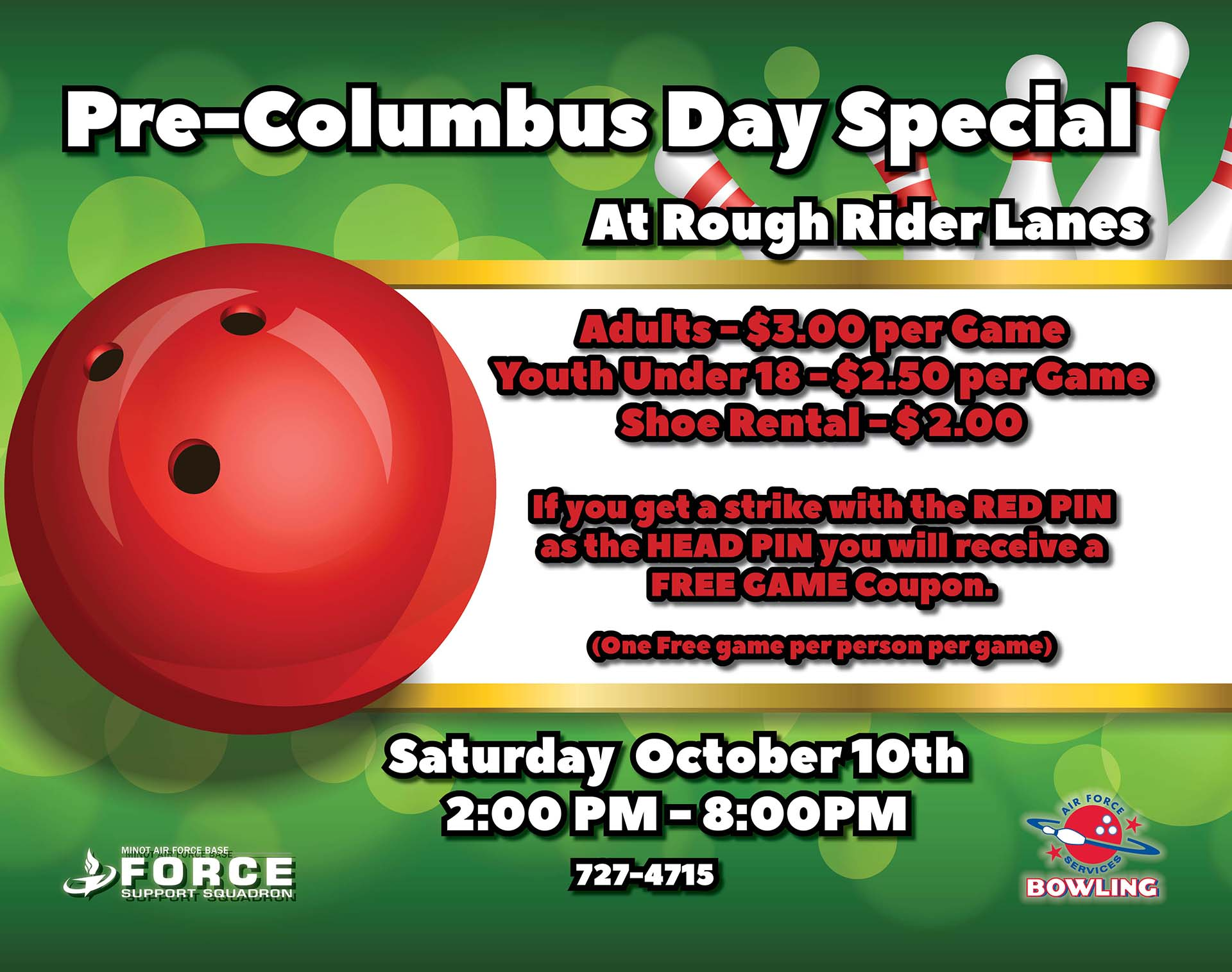 Pre-Columbus Day Bowling Special