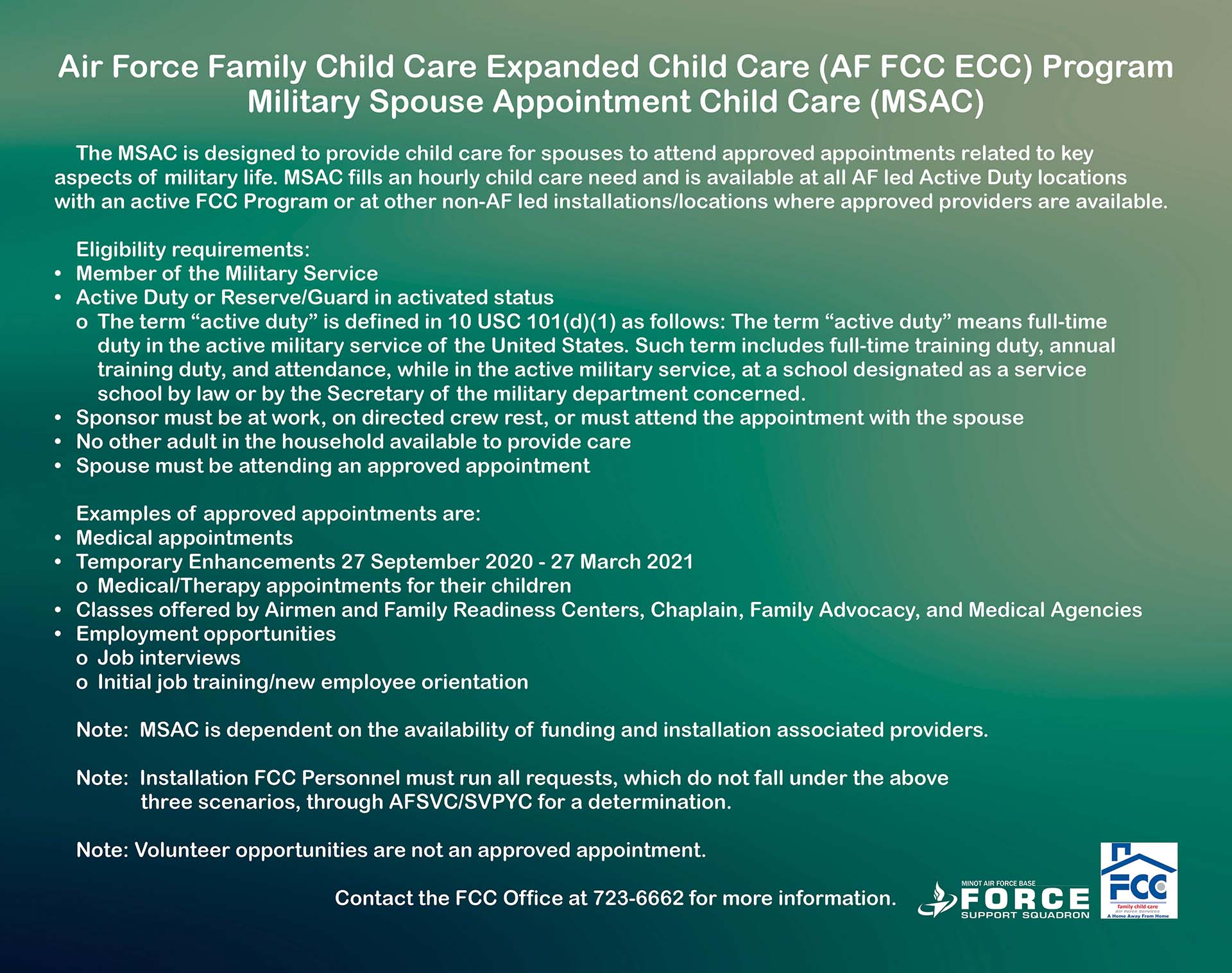 03.21 AF FCC ECC Military Spouse Appointment Child Care - Sept 2020