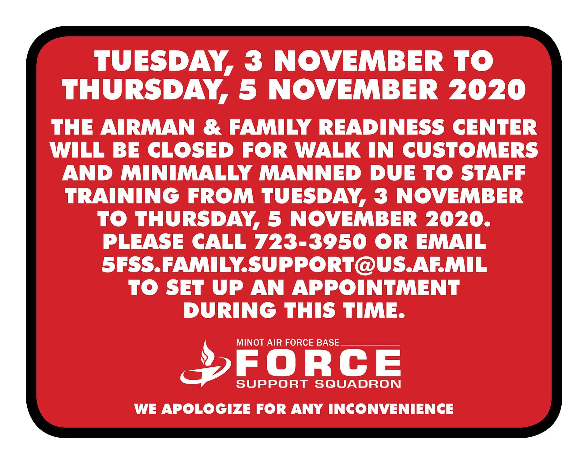 11.03-11.05 A&FRC Staff Training Notice