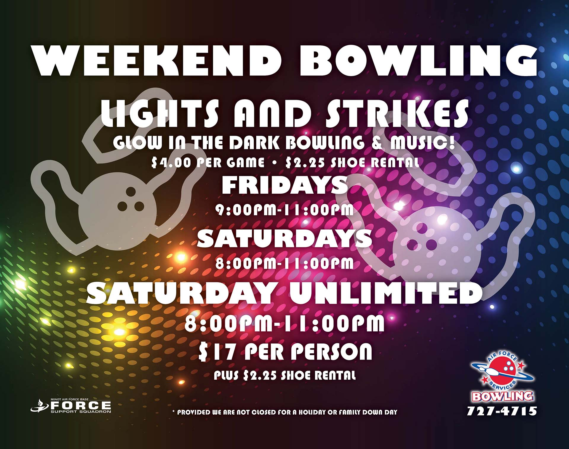 Lights & Strikes and Saturday Unlimited Bowling