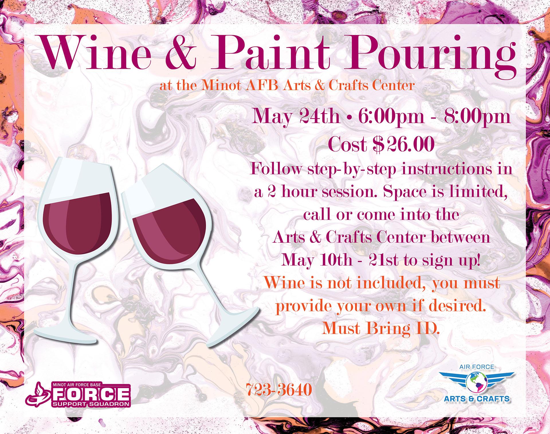 Registration Ends: Wine & Paint Pouring Class