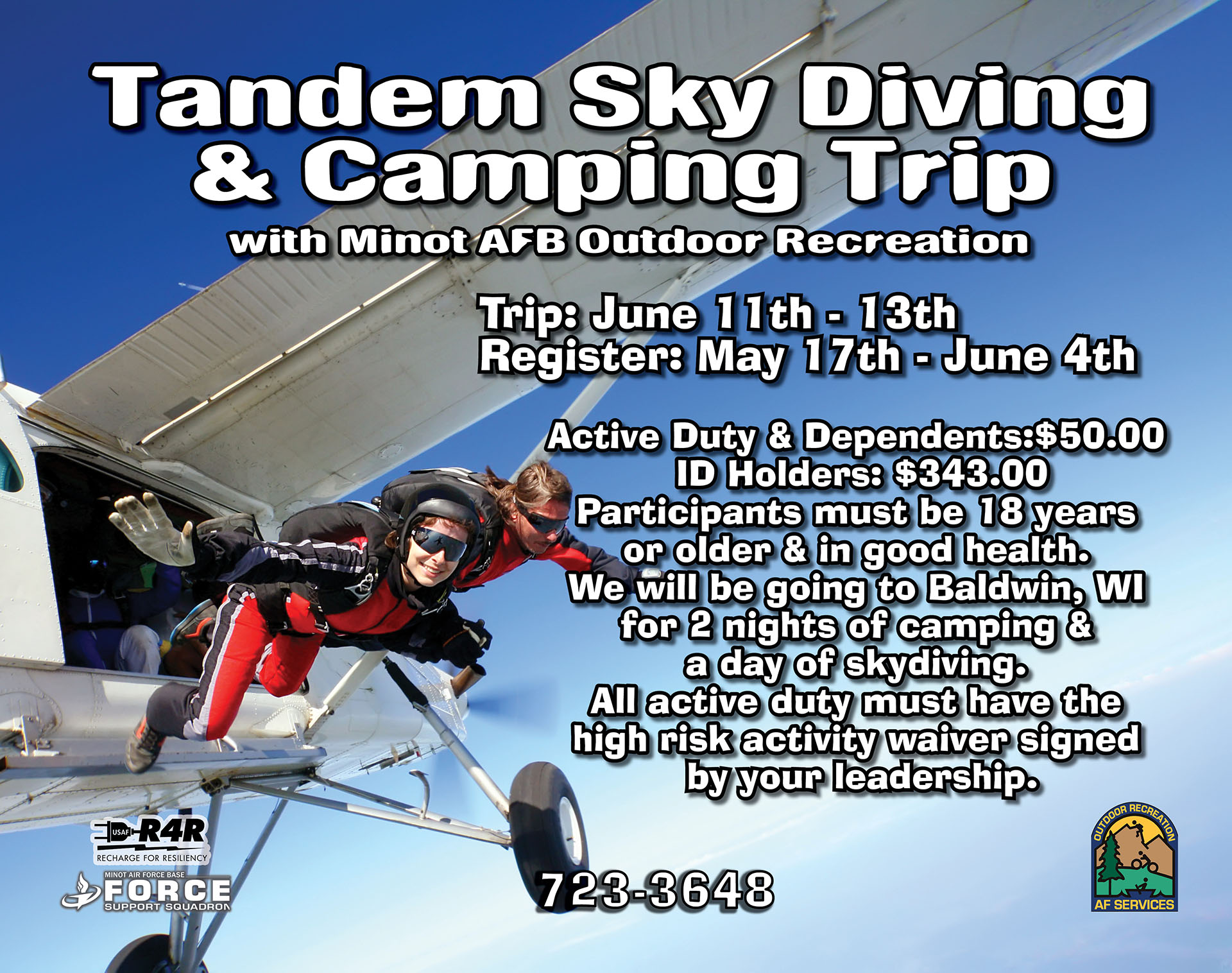 Registration Opens: Skydiving & Camping Trip