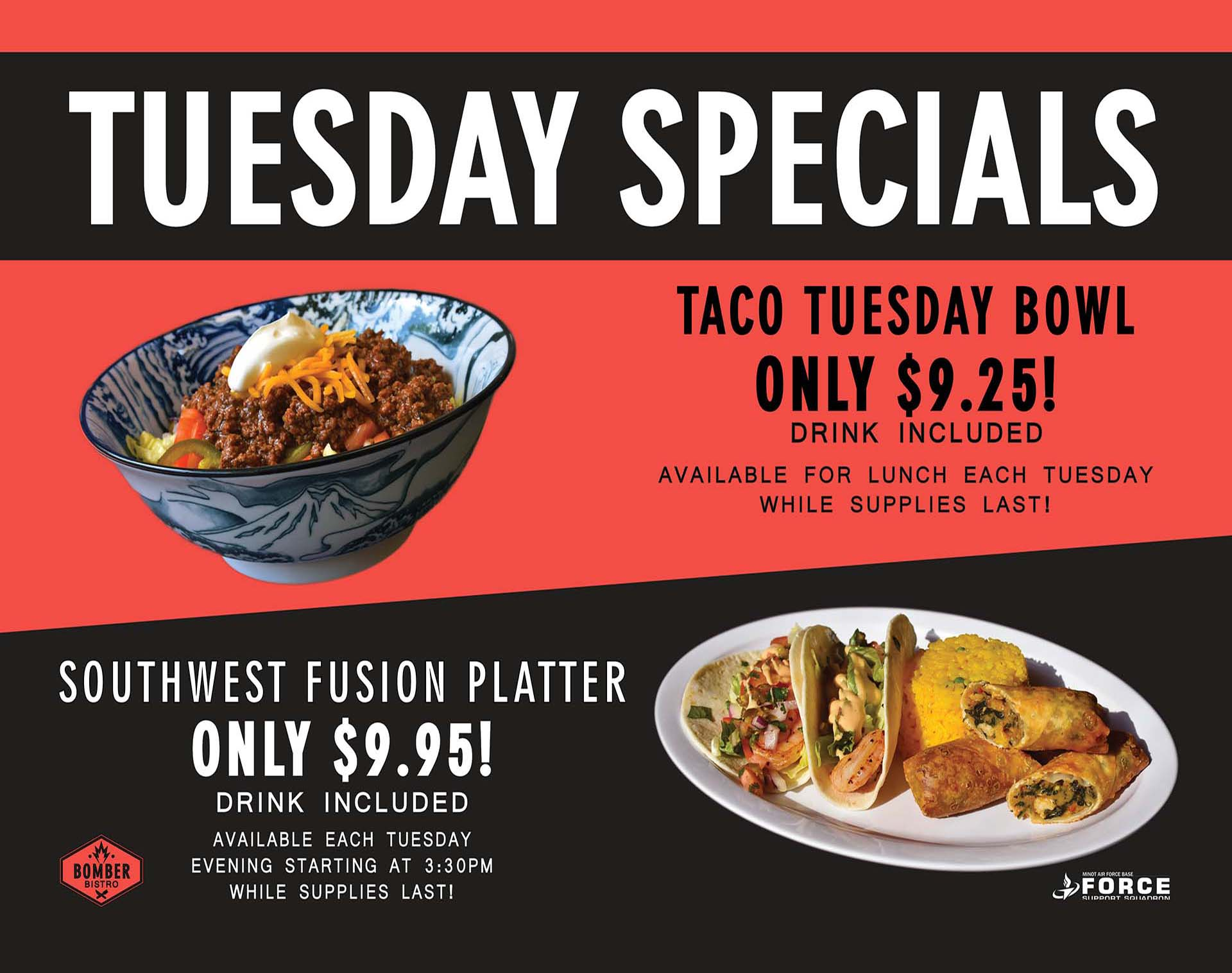 Bomber Bistro - Tuesday Specials - October 20
