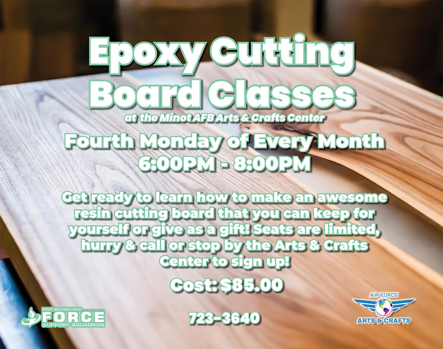 Registration Ends: Epoxy Cutting Board