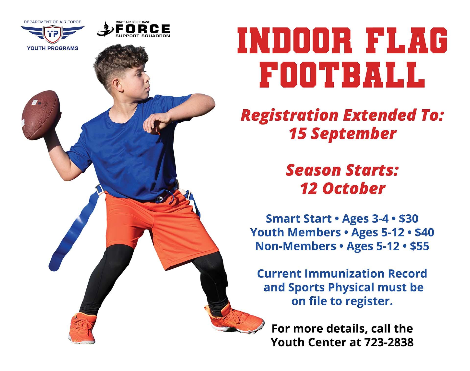 Registrations Closes: Indoor Flag Football