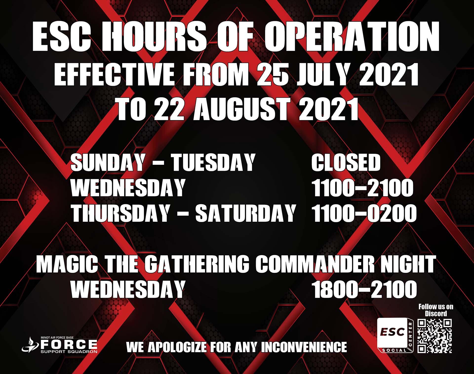 07.25-08.22 ESC Hours of Operation